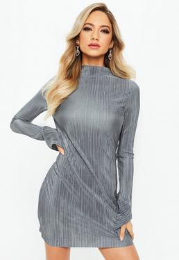 Silver High Neck Frill Long Sleeve Plisse Dress