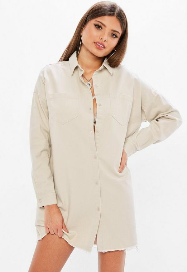 Grey Utility Shirt Dress Missguided