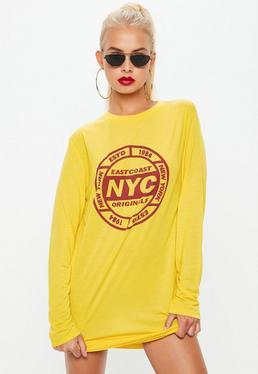 Vestido camiseta downtown de manga corta en amarillo