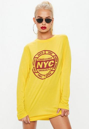 Yellow Nyc Long Sleeve T Shirt Dress Missguided