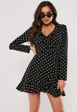 Black Polka Dot Ruffle Tea Dress