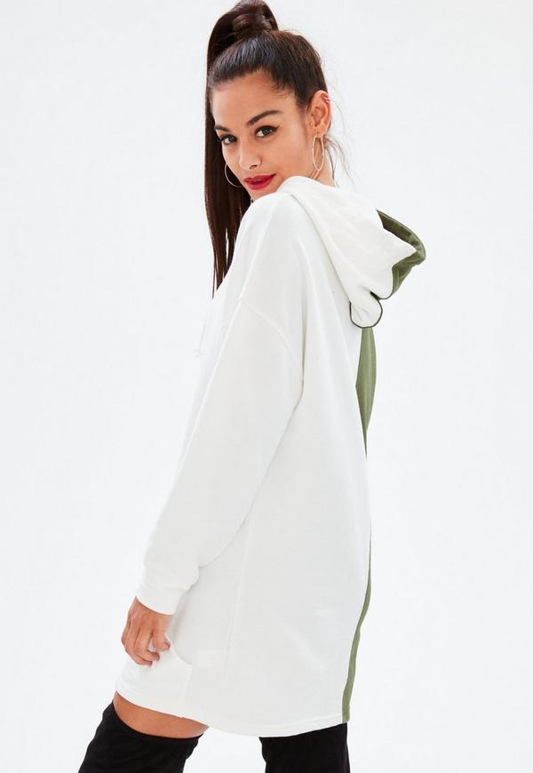 robe sweat verte kaki bicolore capuche missguided. Black Bedroom Furniture Sets. Home Design Ideas