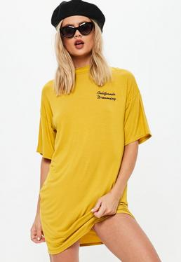 Yellow Embroidered Oversized T-shirt Dress
