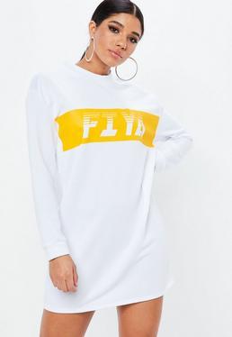White Sports Stripe FIYA Sweater Dress