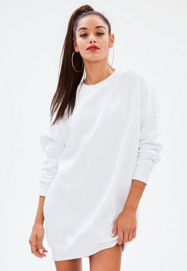 White oversized long sleeve sweat dress missguided for How to not sweat through dress shirts