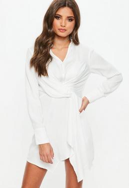 White Asymmetric Knot Front Shirt Dress