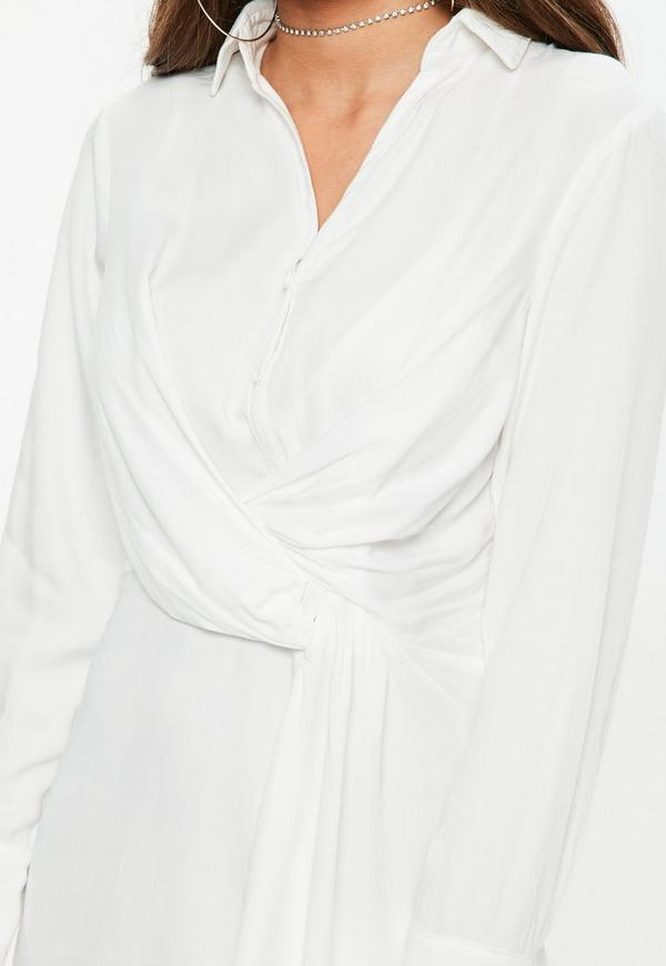 f8b2d1cc5288 ... Ivory Asymmetric Knot Front Shirt Dress. Previous Next