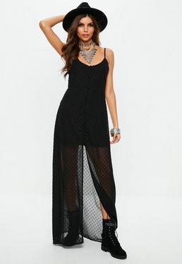 Vestido largo abotonado con transparencias plumeti en negro