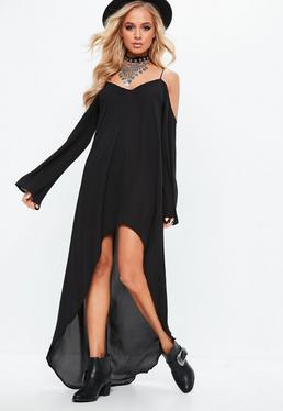 Vestido largo de tirantes con hombros descubiertos en negro