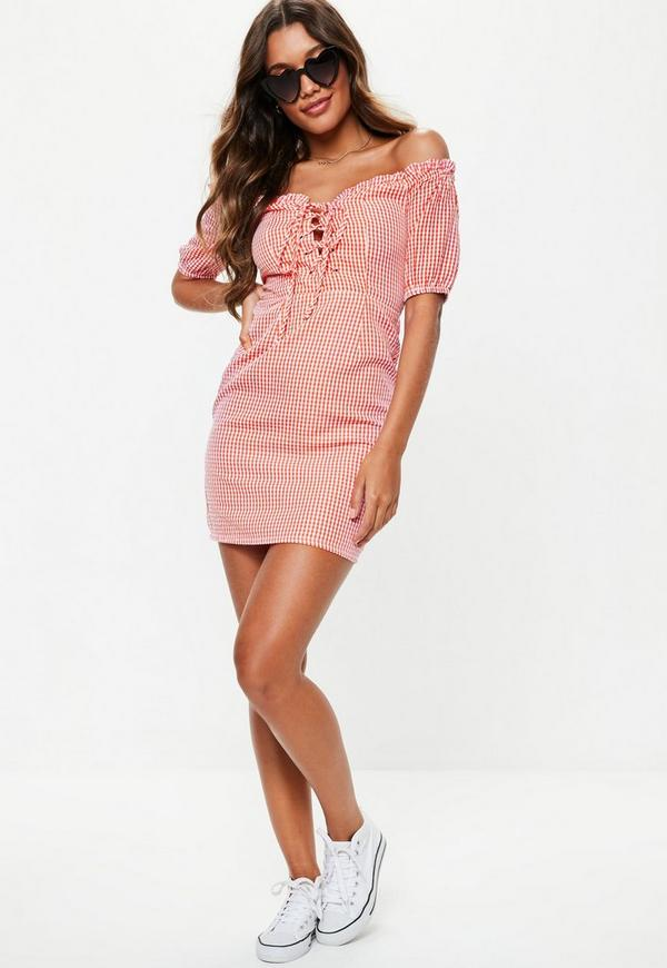 Red Gingham Lace Up Milk Maid Dress Missguided