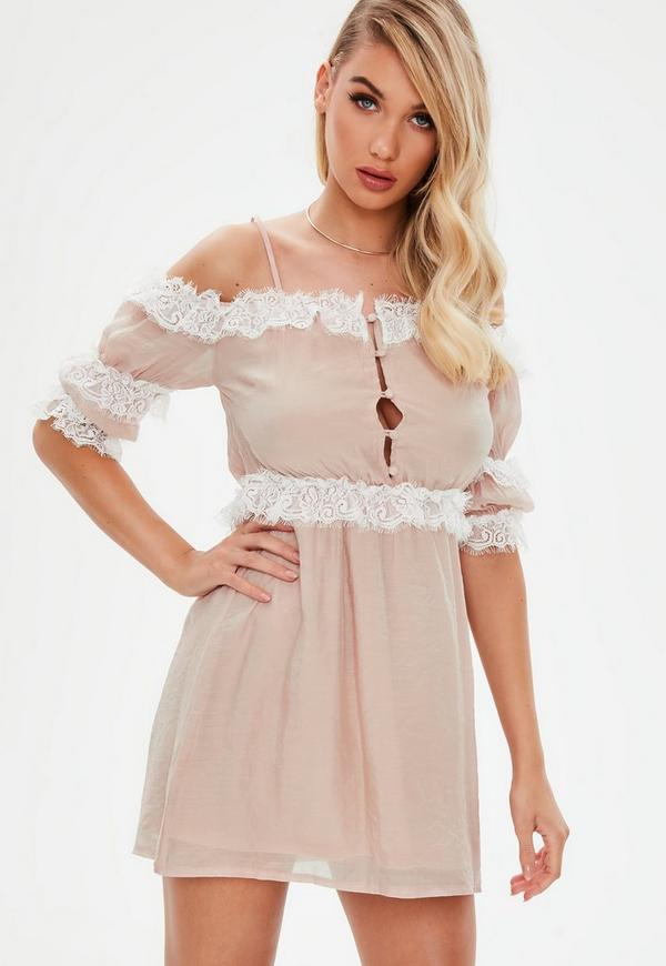 Nude Satin Lace Detail Mini Dress by Missguided