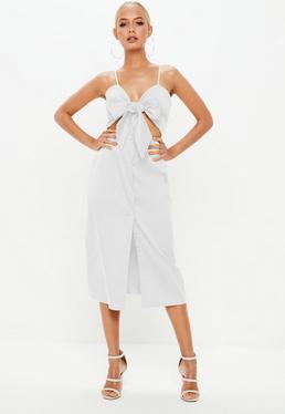 White Tie Front Button Down Strappy Midi Dress