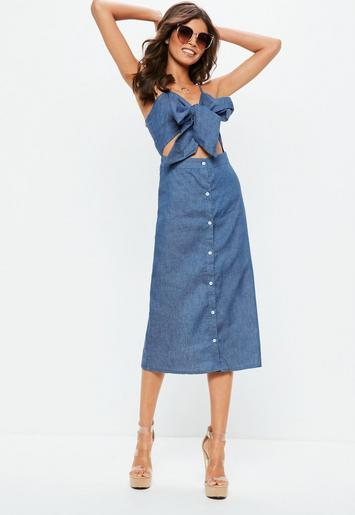blue tie front button down midi dress