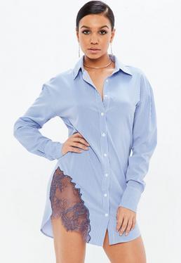 Blue Striped Lace Trim Shirt Dress