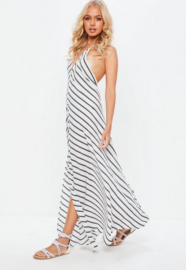 White Split Front Striped Halterneck Maxi Sundress by Missguided