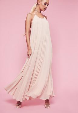 Rose Pleated Halterneck Maxi Dress