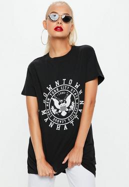 Black Short Sleeve Downtown T-Shirt Dress