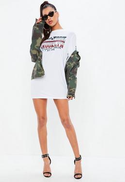 White Long Sleeve Brooklyn Slogan T Shirt Dress