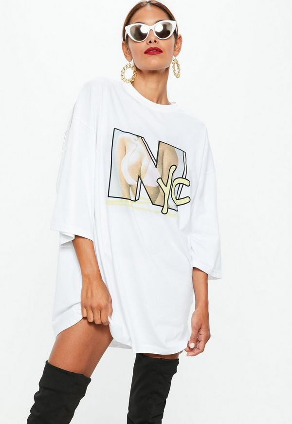 White oversized nyc graphic t shirt dress missguided for Dressy white t shirt