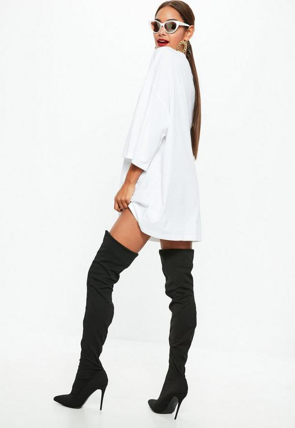 White Oversized NYC Graphic T Shirt Dress   Missguided