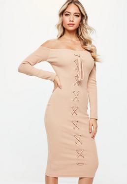 Nude Bardot Ribbed Lace Up Front Midi Dress