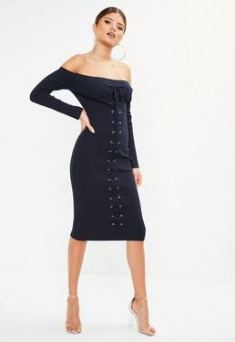 Navy Bardot Ribbed Lace Up Front Midi Dress