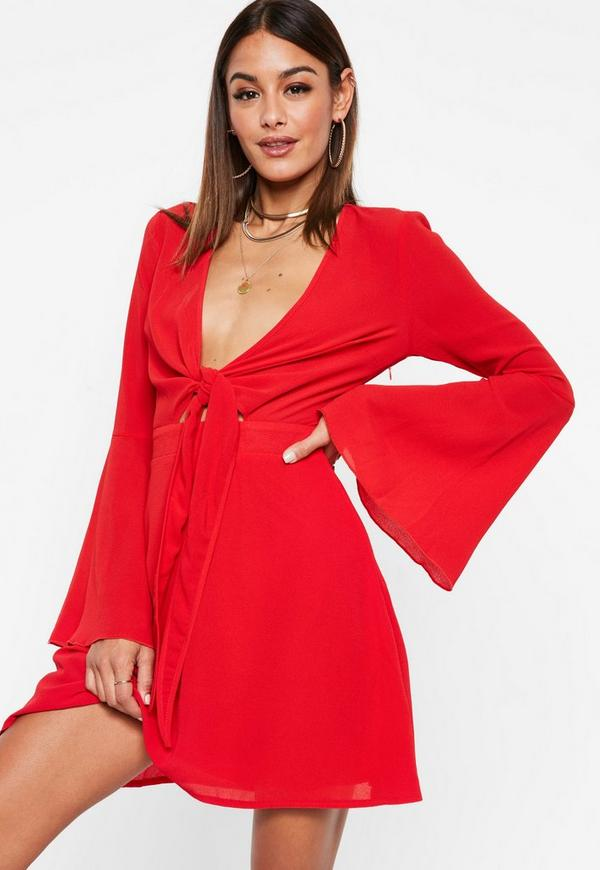 Red Tie Front Tea Dress by Missguided