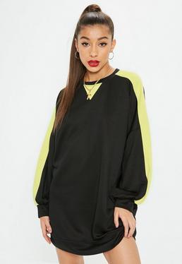 Black Oversized Contrast Sleeve Sweatshirt Dress