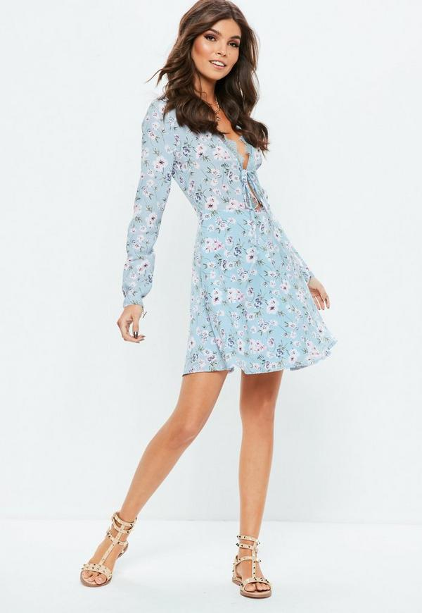 Blue Lace Trim Long Sleeve Skater Floral Dress Missguided