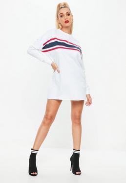 Vestido sudadera de manga larga con rayas en blanco