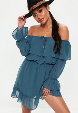 Niebieska szyfonowa sukienka mini