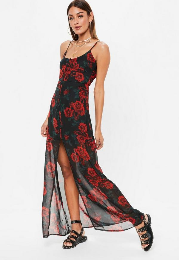 Black Chiffon Rose Print  Button Down Maxi Dress by Missguided
