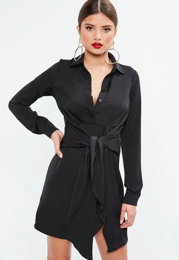 Black Satin Tie Waist Shirt Dress Missguided