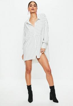 Vestido camisero oversize a rayas en blanco