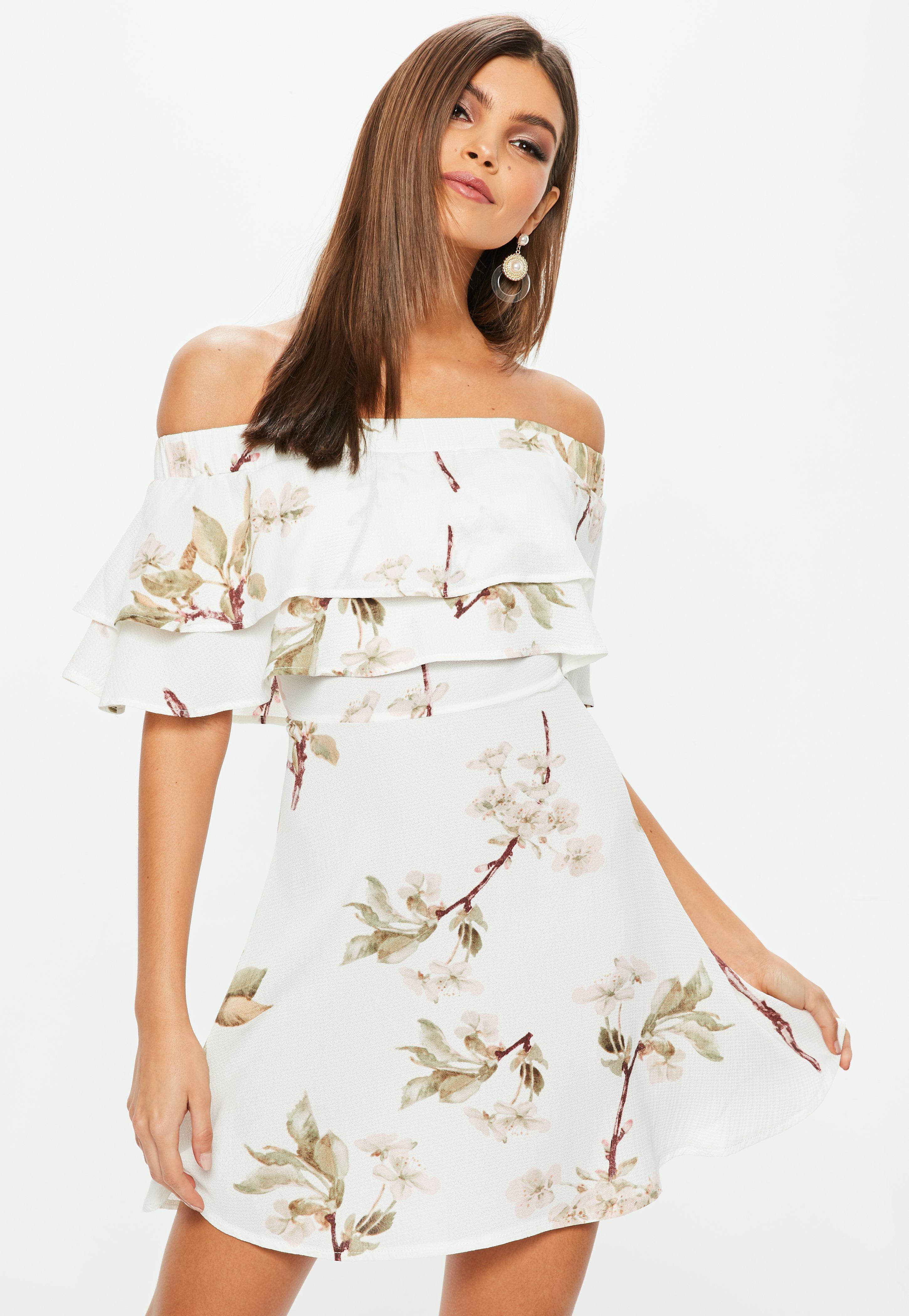 White Floral Bardot Frill Skater Dress Missguided