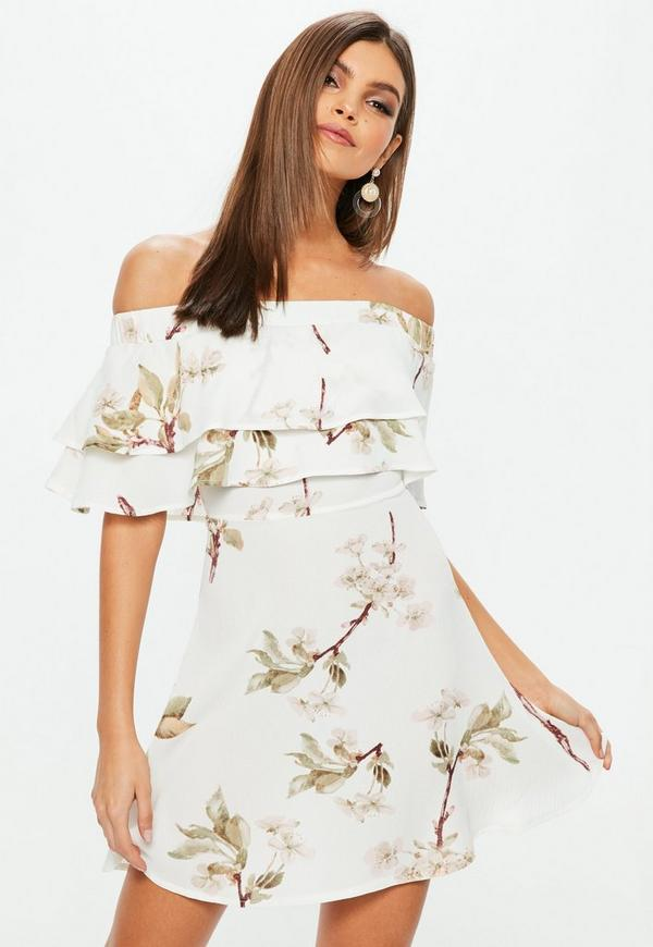 White Floral Bardot Frill Skater Dress by Missguided