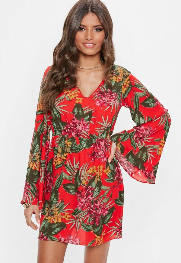 e74bf99883d2 Red Plunge Kimono Sleeve Floral Print Dress. Was $24.00. Now $14.00 (42%  off). Previous Next