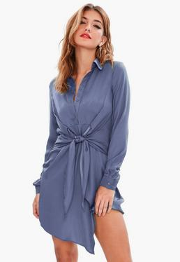 Blue Satin Tie Waist Shirt Dress