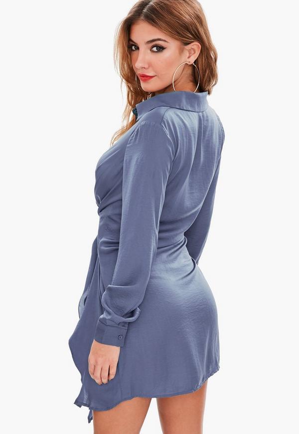 Blue Satin Tie Waist Shirt Dress
