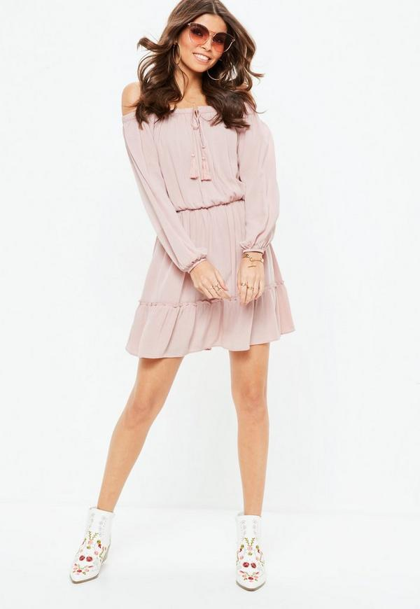 a559a85a70 MISSGUIDED. PINK BARDOT TASSEL SKATER DRESS