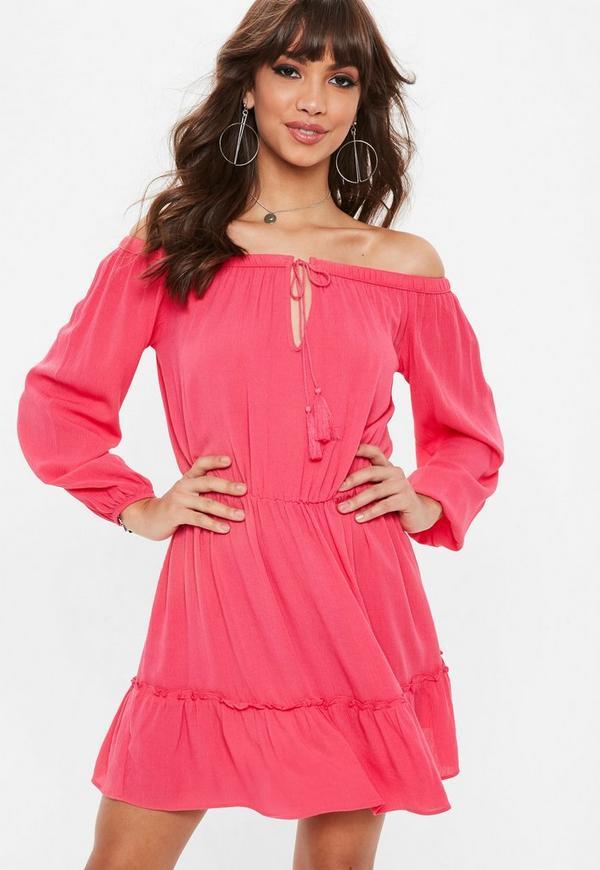 Pink Bardot Tassel Skater Dress by Missguided