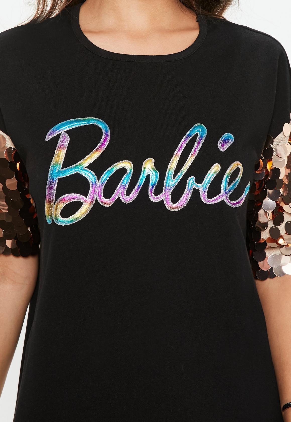 3117c4754258 Missguided - Barbie x Missguided Black Glitter Logo Sequin Sleeve T Shirt  Dress, Black -