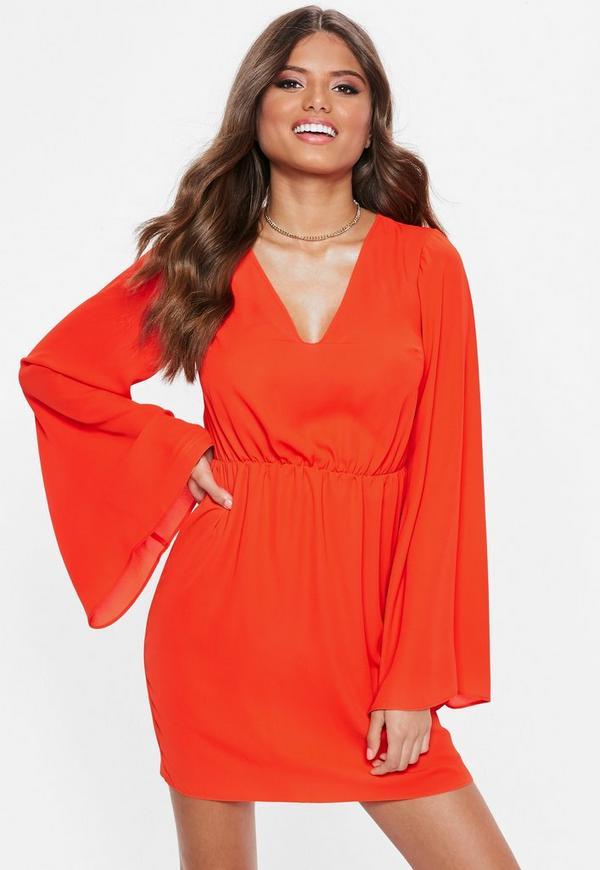 Orange Plunge Kimono Sleeve Mini Dress by Missguided