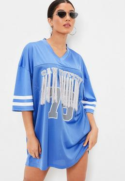 Blue American Football Shirt Tassel Oversized Dress