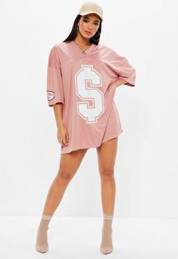 Pink American Football T-Shirt Dress