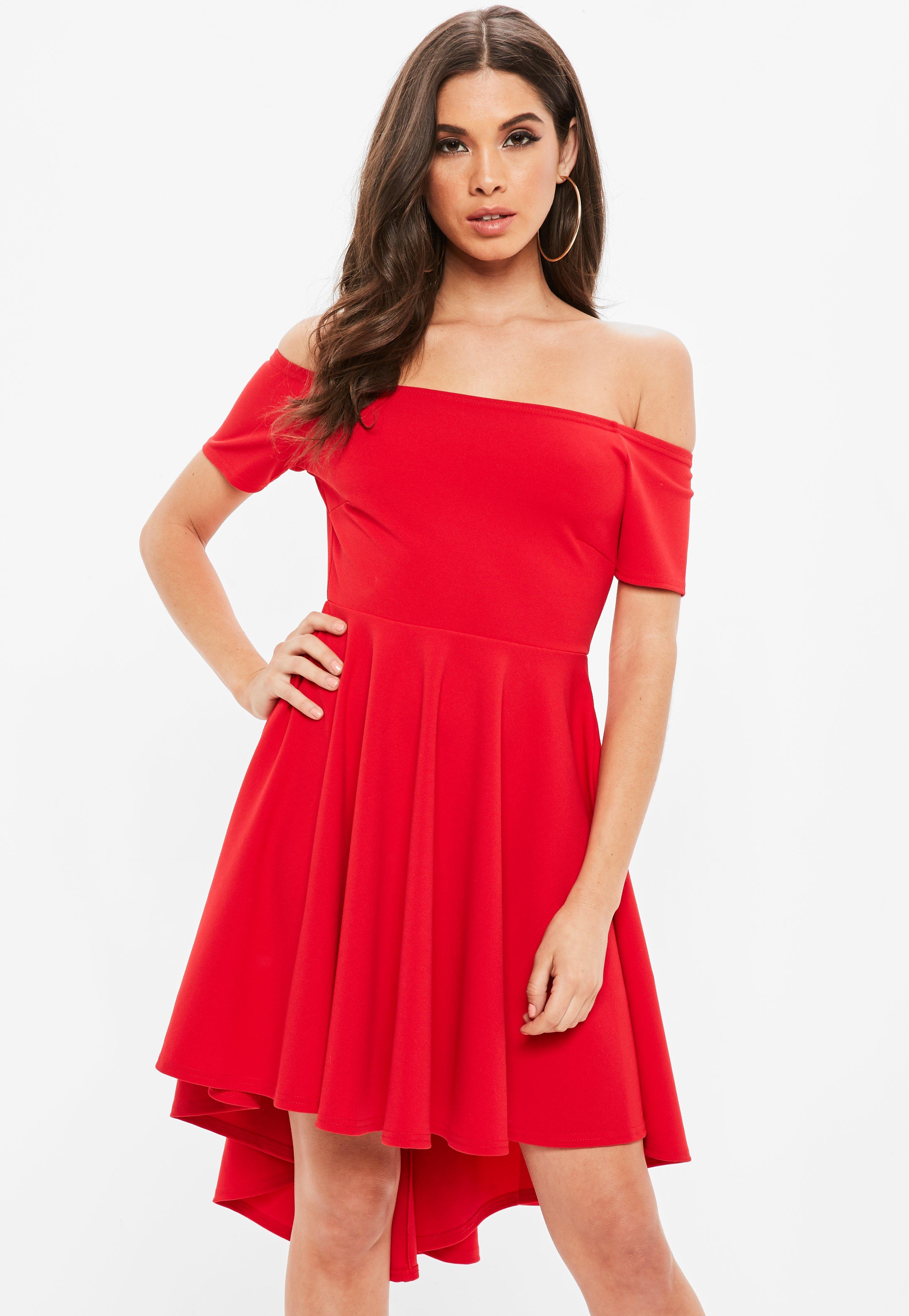 Red Bardot Skater Dress   Missguided