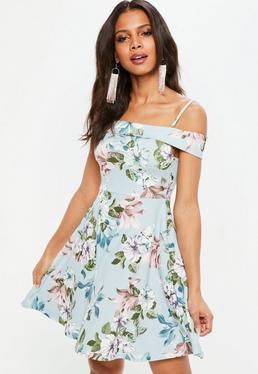Blue Floral Cami Strap Fold Over Skater Dress