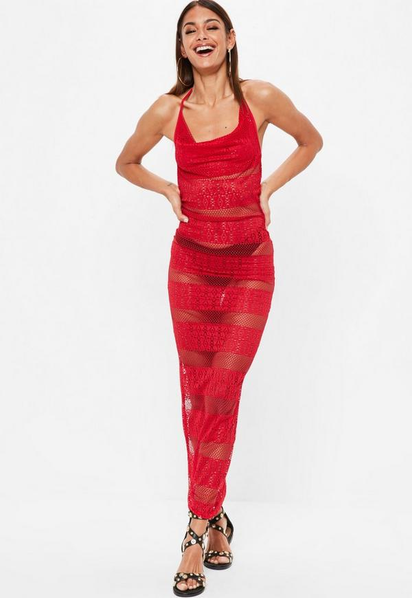 Red Crochet Halterneck Maxi Dress by Missguided