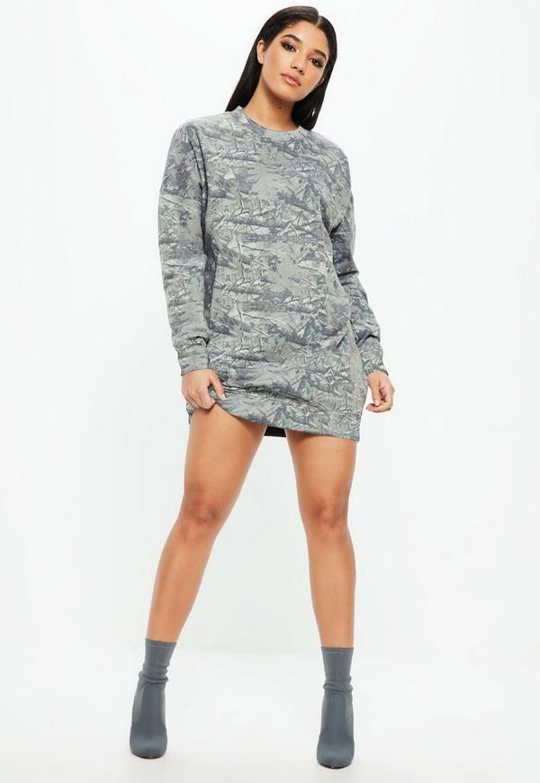 Gray Camo Print Long Sleeve Oversized Sweater Dress | Missguided