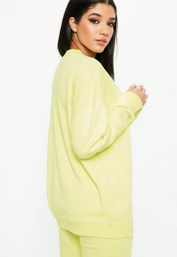 Lime Oversized Sweater Dress Missguided